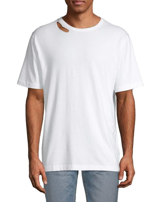 Zadig & Voltaire White Cutout Short-sleeve Cotton Tee for men