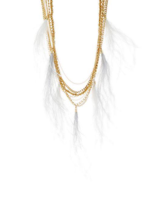 Natasha Couture - Metallic Feather Tassel Chain Necklace - Lyst