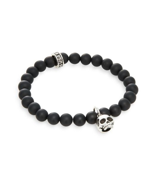 King Baby Studio - Black Onyx & Sterling Silver Beaded Skull Charm Bracelet for Men - Lyst