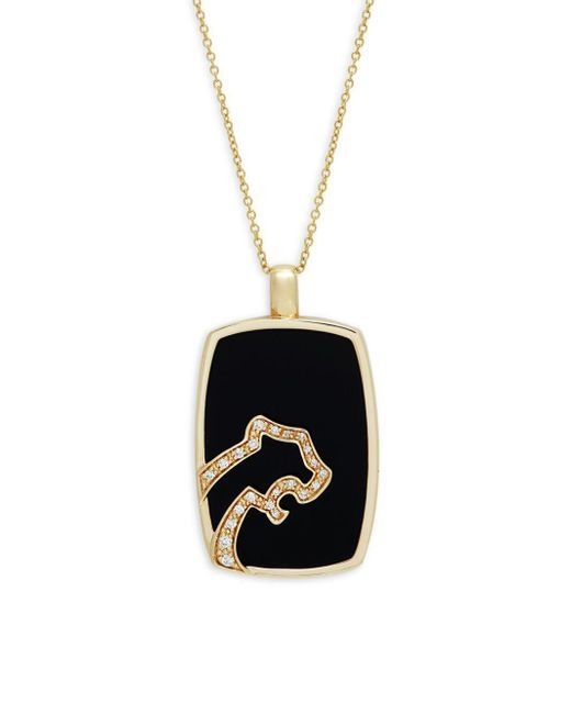Effy - Diamond, Black Agate And 14k Yellow Gold Pendant Necklace - Lyst