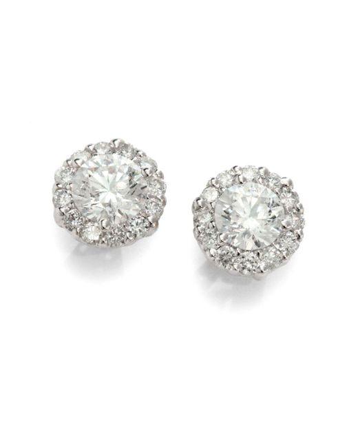 Saks Fifth Avenue   Metallic 1 Tcw Certified Diamond Cluster & 18k White Gold Earrings   Lyst