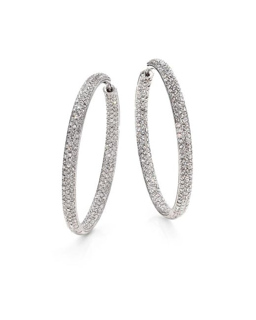 """Adriana Orsini - Metallic Pavà Silverplated Inside-outside Hoop Earrings/1.75"""" - Lyst"""