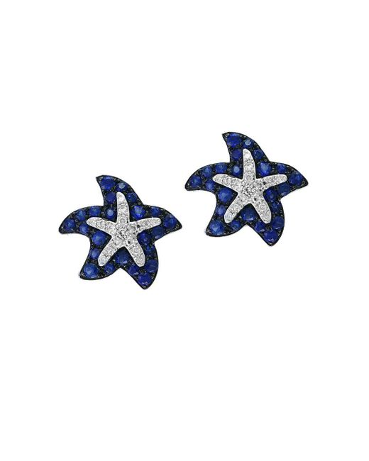 Effy - Blue 14k White Gold Sapphire And Diamond Starfish Stud Earrings - Lyst