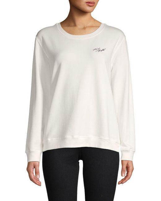 Karl Lagerfeld - White Newspaper Graphic Logo Sweatshirt - Lyst