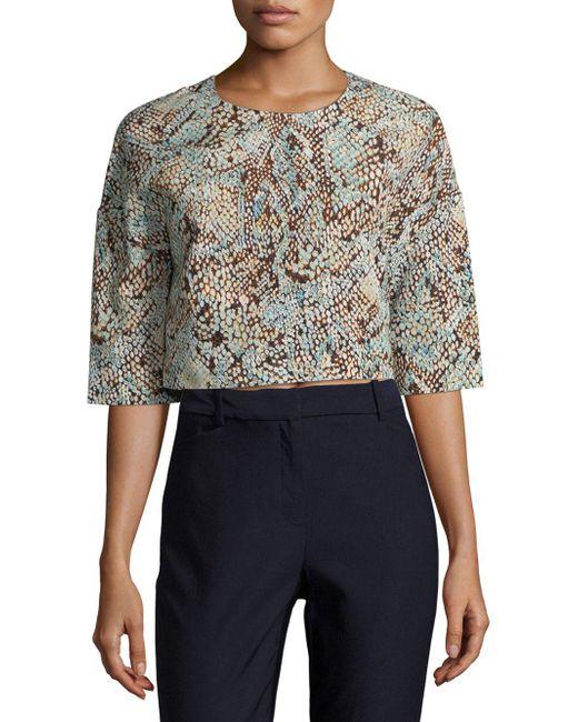 MSGM - Orange Geometric-print Crop Sweater - Lyst