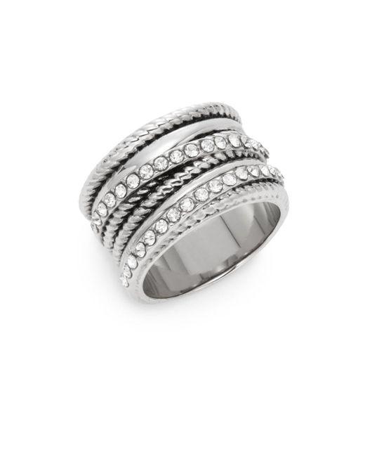 Saks Fifth Avenue | Metallic Multi-texture Bling Ring/silvertone | Lyst
