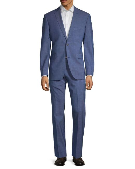Saks Fifth Avenue Blue Textured Wool Suit for men