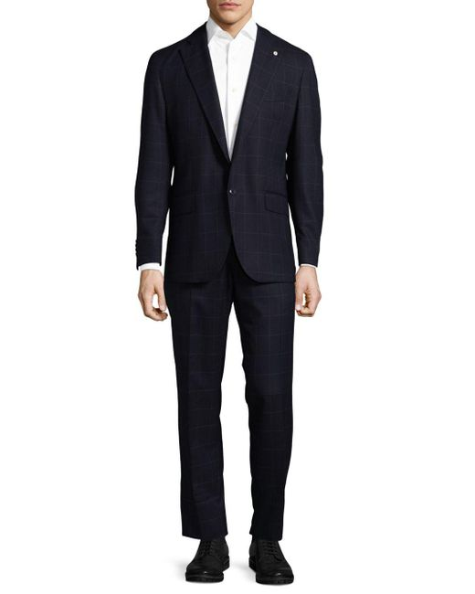Lubiam - Blue Box Striped Wool Suit for Men - Lyst
