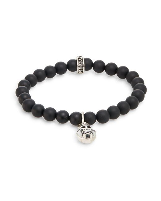 King Baby Studio - Metallic Onyx & Sterling Silver Beaded Skull & Crossbones Charm Bracelet for Men - Lyst