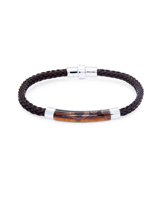 Effy - Metallic Tigers-eye, Sterling Silver And Leather Braided Bracelet - Lyst