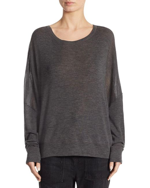Vince - Gray Drop Shoulder Wool Sweater - Lyst