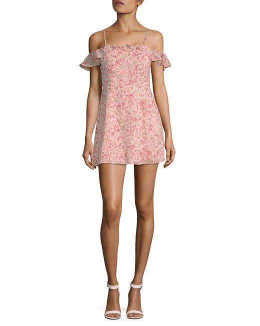 For Love & Lemons - Pink Aurora Ruffle Mini Dress - Lyst