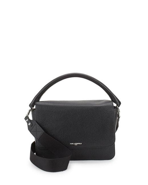 Karl Lagerfeld - Black Structured Leather Satchel - Lyst