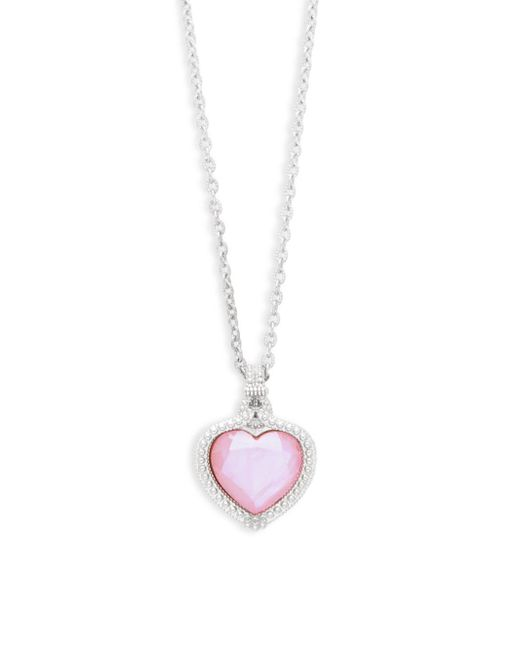 Judith Ripka - Pink Crystal & Mother-of-pearl Heart Pendant Necklace - Lyst