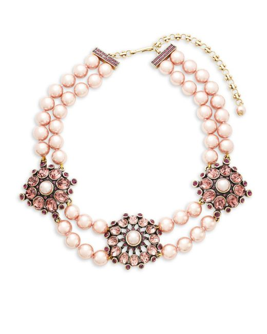Heidi Daus - Pink Simulated Faux Pearl And Crystal Triple Station Beaded Necklace - Lyst