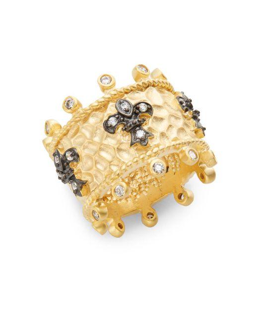 Freida Rothman - Metallic White Stone & 14k Yellow Gold Vermeil Fleur De Lis Ring - Lyst