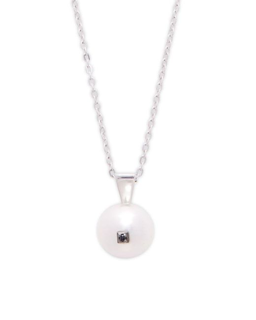 Majorica - 10mm White Organic Pearl, Black Diamond & Sterling Silver Pendant Necklace - Lyst