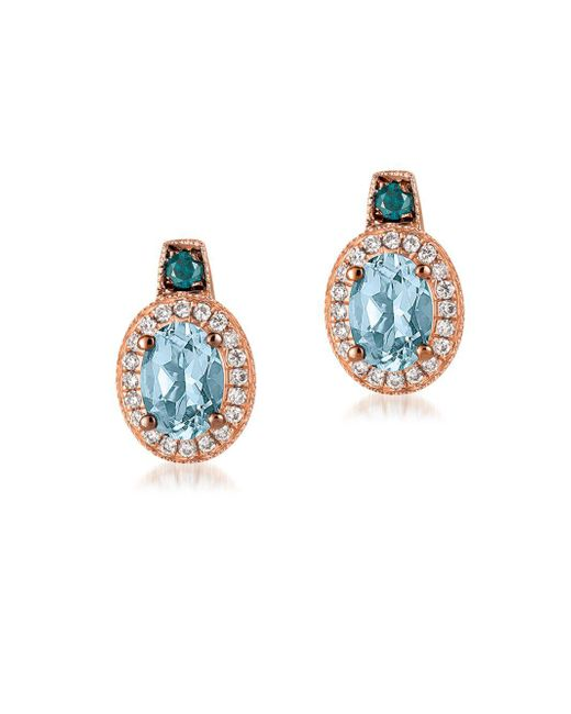 Le Vian - Metallic Exotics Diamond, Aquamarine & 14k Rose Gold Stud Earrings - Lyst