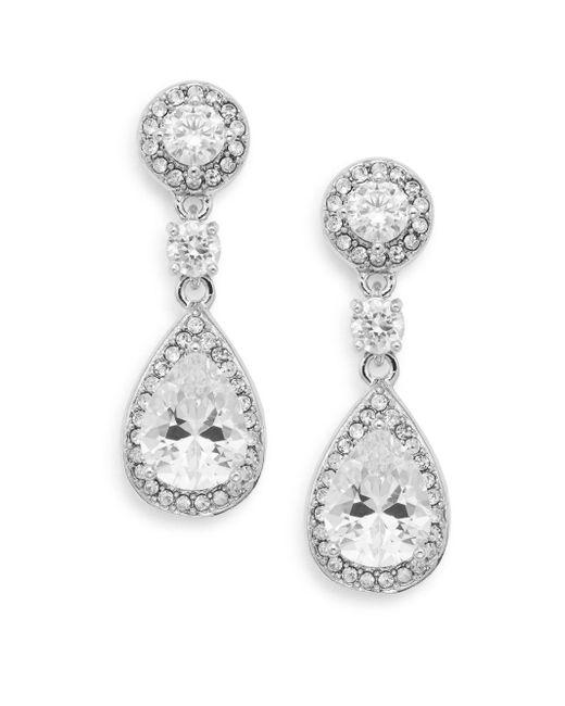 Saks Fifth Avenue   Metallic Pavé Halo Teardrop Earrings   Lyst