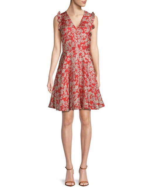 Rebecca Taylor - Red Cherry Blossom Silk Dress - Lyst
