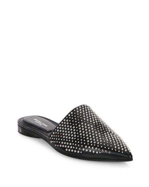 Michael Kors - Black Darla Leather Flat Mules - Lyst
