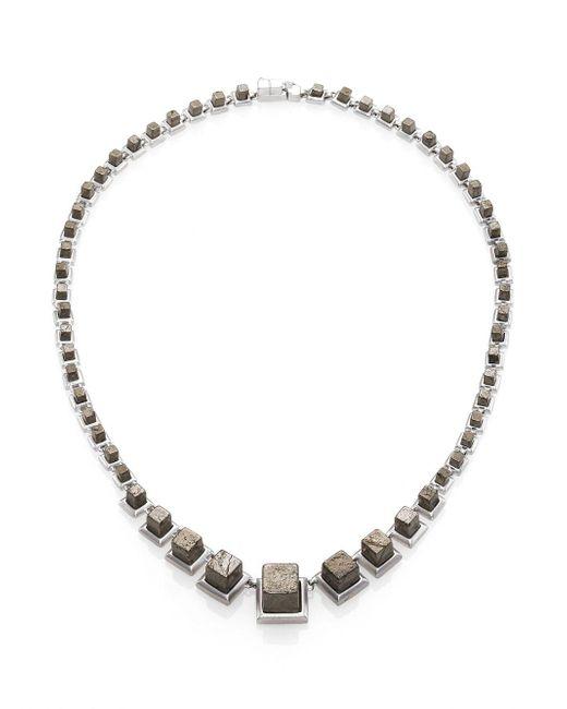 Eddie Borgo - Gray Pyrite Graduated Cube Necklace - Lyst
