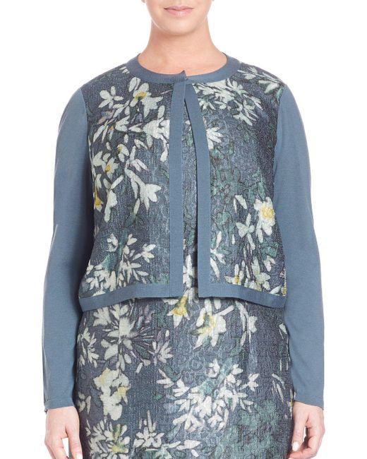 Lafayette 148 New York - Blue Wool Floral Cloque Shrug - Lyst