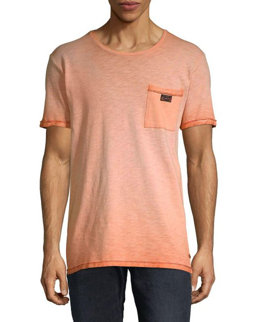 Scotch & Soda - Orange Oil-washed Cotton Tee for Men - Lyst