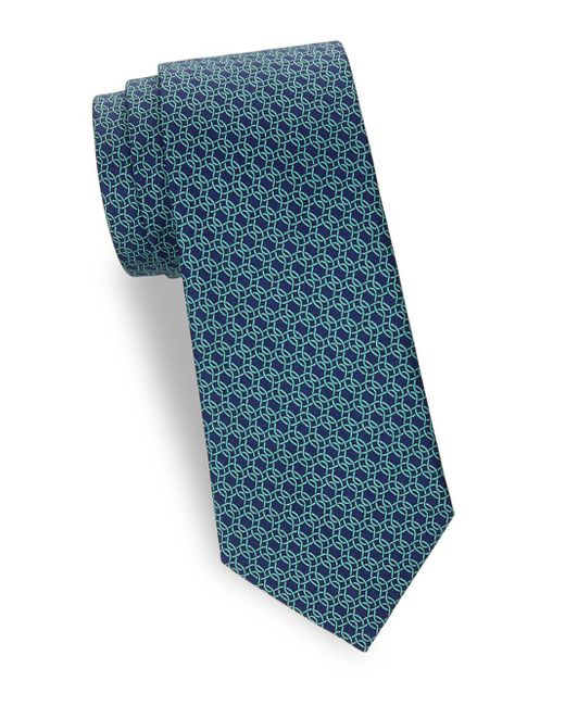 Saks Fifth Avenue - Blue Chain Link Silk Tie for Men - Lyst