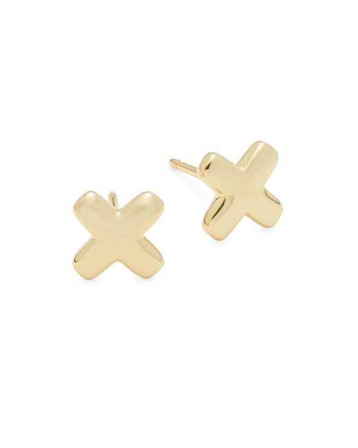 Saks Fifth Avenue - Metallic 14k Yellow Gold Cross Out Earrings - Lyst