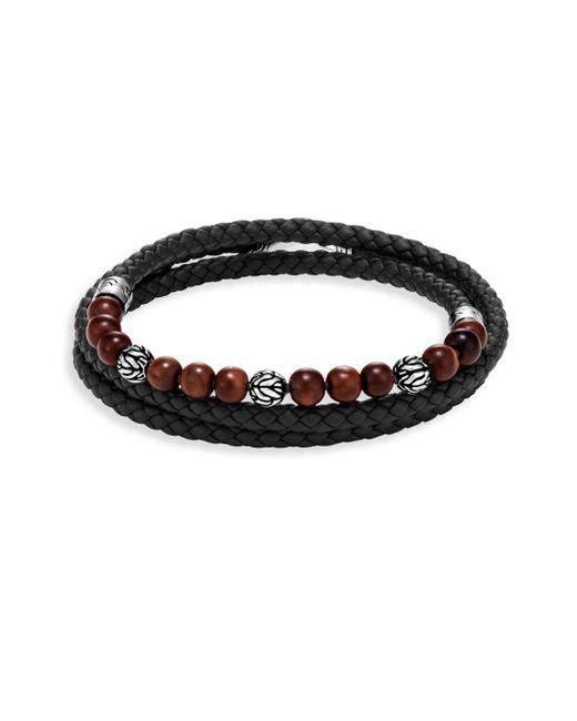 John Hardy - Brown Leather & Silver Bracelet - Lyst