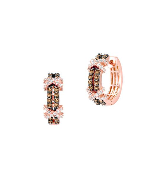 Le Vian - Metallic 14k Strawberry Gold Vanilla Diamonds & Chocolate Diamonds Huggie Earrings - Lyst