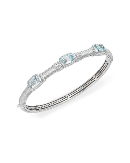 Judith Ripka | Metallic Estate Sky Blue Stone, White Sapphire & Sterling Silver Bangle Bracelet | Lyst