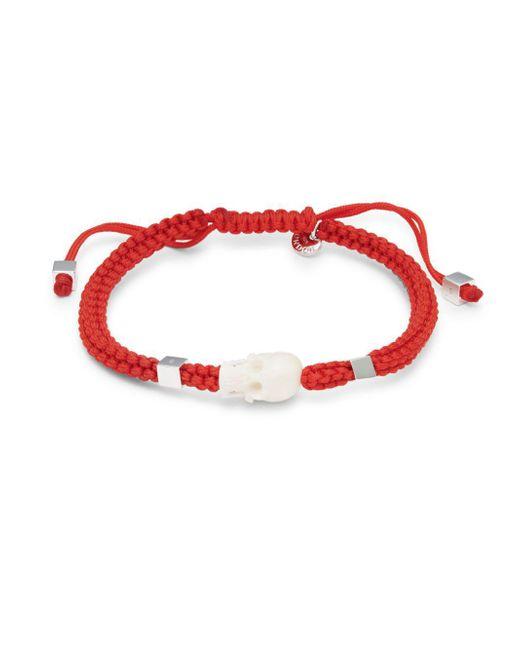 Tateossian - Red Slim Skull Bracelet - Lyst