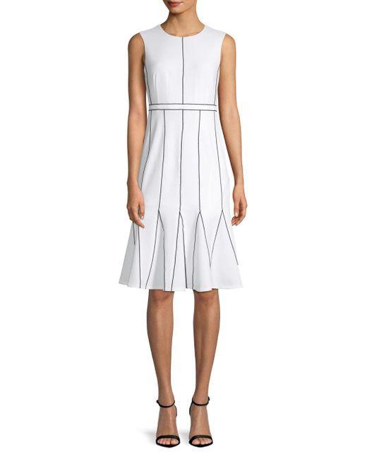 Calvin Klein - White Contrast-stitch A-line Dress - Lyst