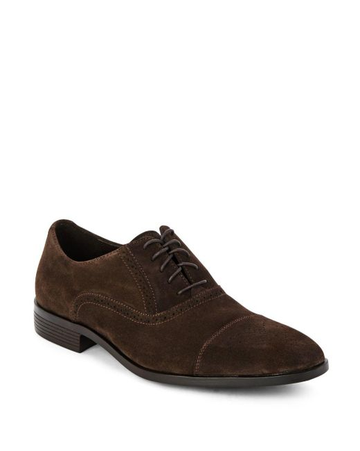 Saks Fifth Avenue   Brown Perforated Leather Oxfords for Men   Lyst