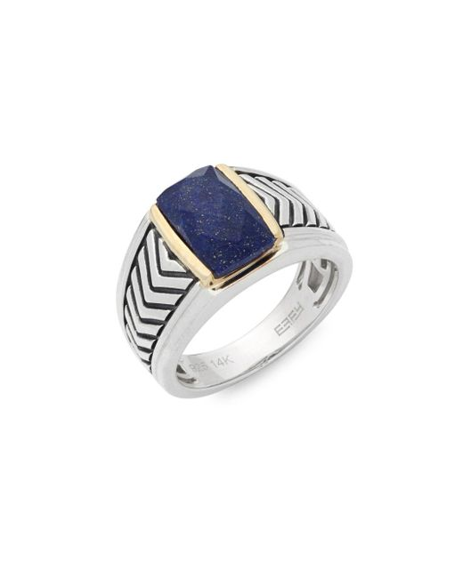 Effy | Metallic Lapis, Sterling Silver And 14k Yellow Gold Chevron Midi Ring | Lyst