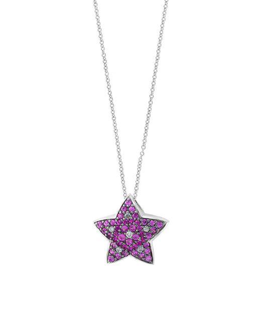 Effy - Multicolor 14k White Gold, Pink Sapphire & Diamond Star Pendant Necklace - Lyst