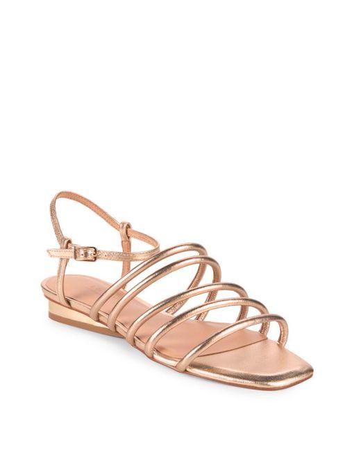 Halston Heritage - Multicolor Leandra Metallic Leather Ankle Strap Sandals - Lyst