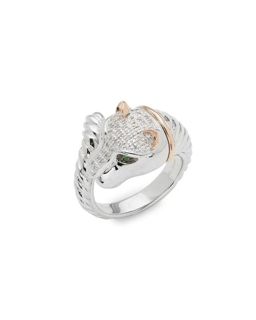 Effy - Metallic Diamond, Tsavorite, 14k Gold And Sterling Silver Ring, 0.12 Tcw - Lyst