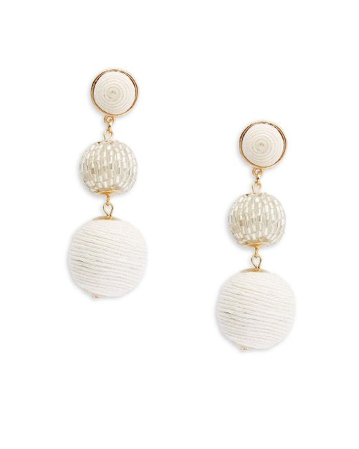 Kenneth Jay Lane | White Polished Goldtone Earrings | Lyst
