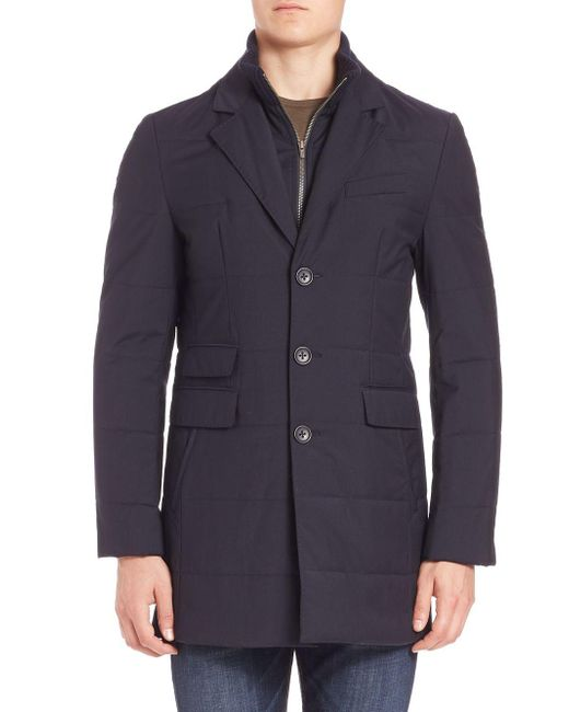 Saks Fifth Avenue - Blue Zipper Bib Quilted Wool Coat for Men - Lyst