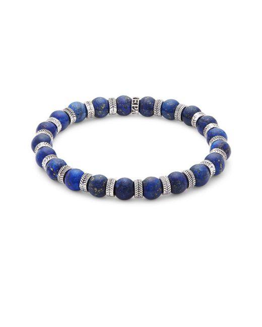 Perepaix - Stainless Steel & Blue Lapis Beaded Bracelet - Lyst