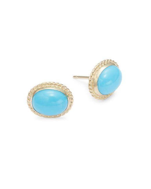 Saks Fifth Avenue | Blue 14k Yellow Gold & Turquoise Twist Earrings | Lyst