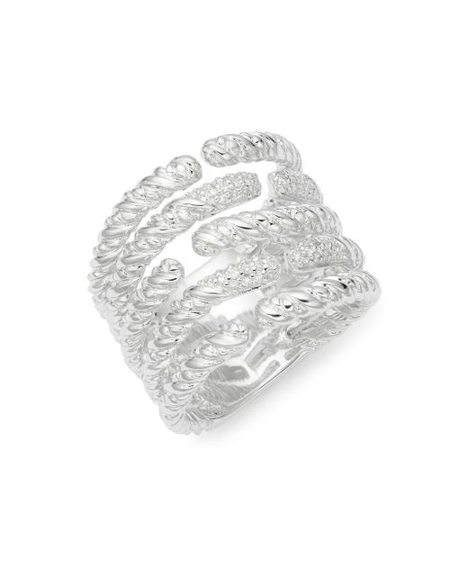 Effy - Metallic 925 Sterling Silver & Diamond Open Ring - Lyst