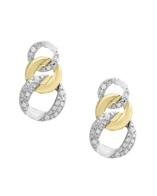 Effy - Metallic Duo Diamond And 14k White And Yellow Gold Earrings - Lyst