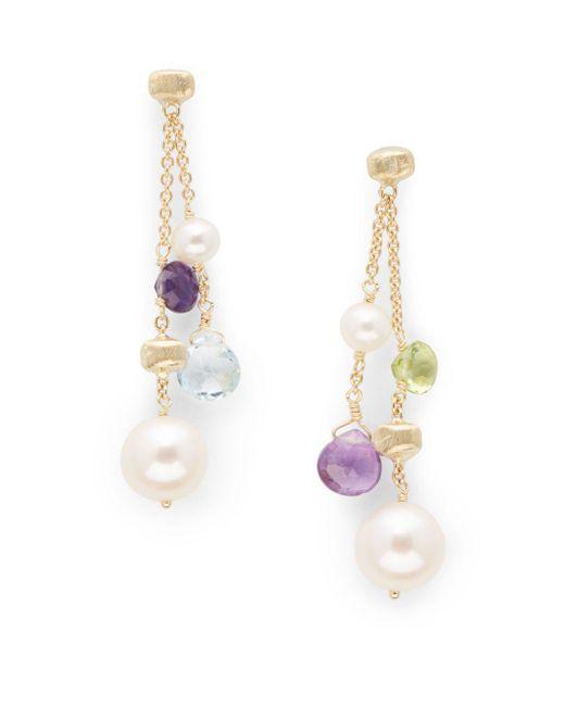 Marco Bicego | Yellow 7mm, 5mm Pearl Topaz Amethyst Peridot Drop Earrings | Lyst
