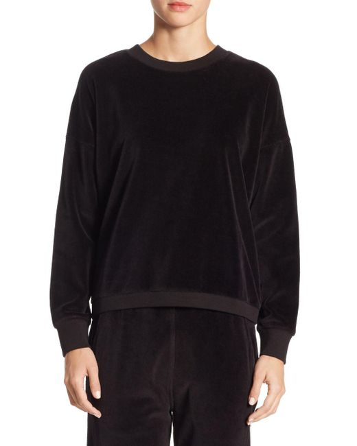 Vince - Black Velour Cotton Sweater for Men - Lyst