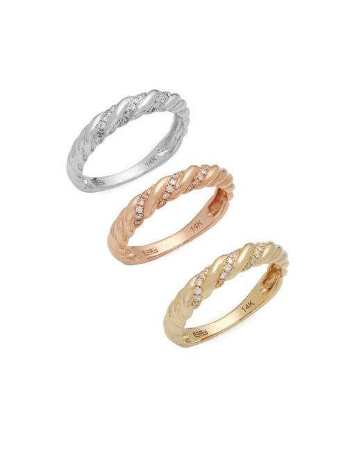 Effy - Metallic 14k Yellow, Rose And White Gold Diamond Ring Set - Lyst