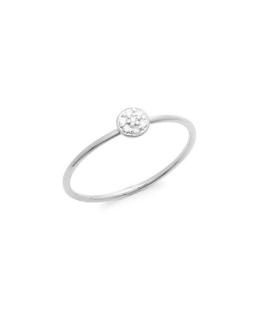 Danni - Metallic Diamond And 14k White Gold Circle Ring, 0.04 Tcw - Lyst